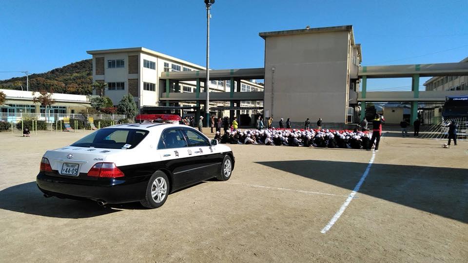 11月21日岡山市中区富山小学校にて初めての交通安全教室を開催
